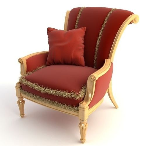 Red Armchair with Pillow 3D Model MAX OBJ 3DS | CGTrader.com