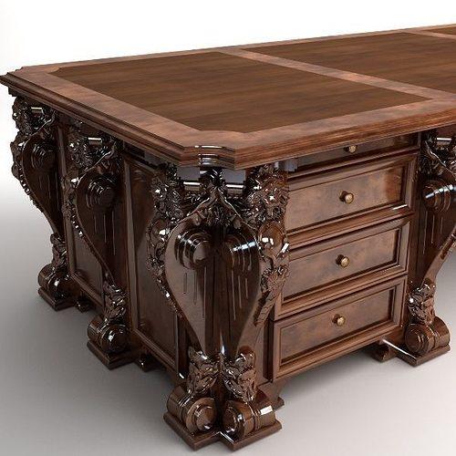 photorealistic antique wooden desk 2 3d model max 3ds fbx 1