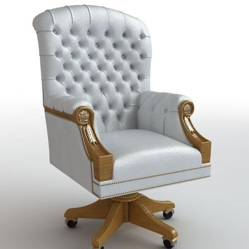 Classical white leather armchair3D model