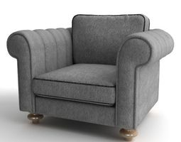 Grey Club Armchair 3D Model
