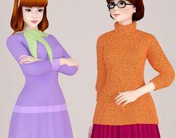 3D model scooby-doo Daphne and Velma pose 01