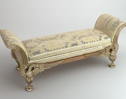 stylish baroque style bench 3d