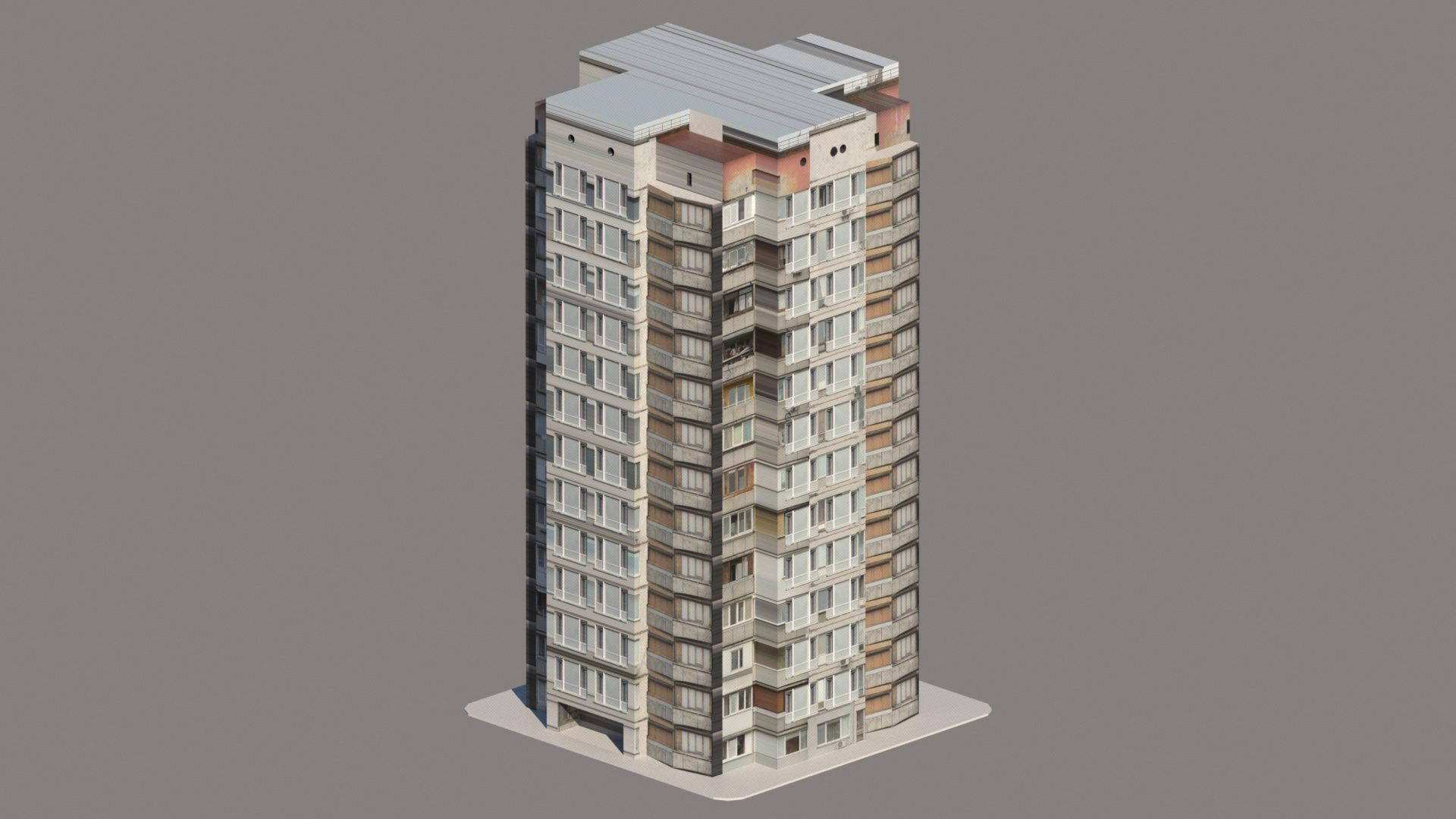Apartment building low poly free 3d model game ready obj for Apartment 3d model