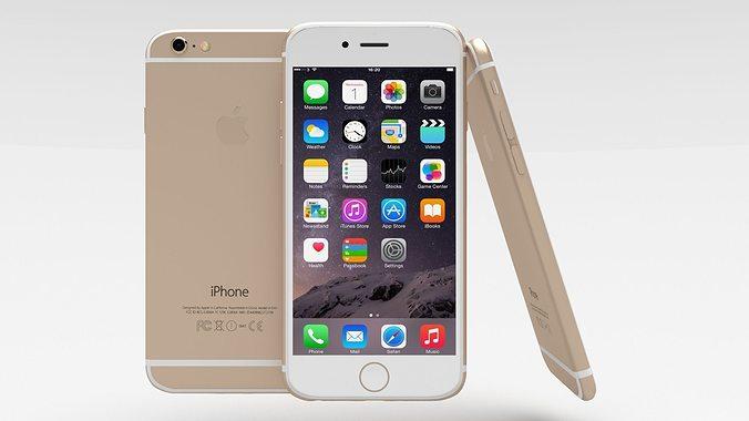 iphone 6 gold 3d model obj blend mtl 1
