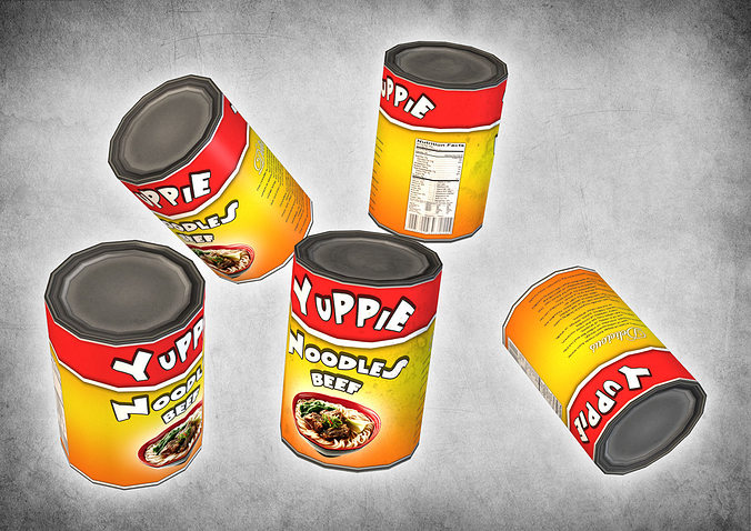 canned noodles 3d model low-poly max obj mtl 3ds fbx dxf dae 1
