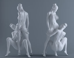 Two naked women 3D print model