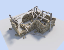 ruined house 3d model game-ready