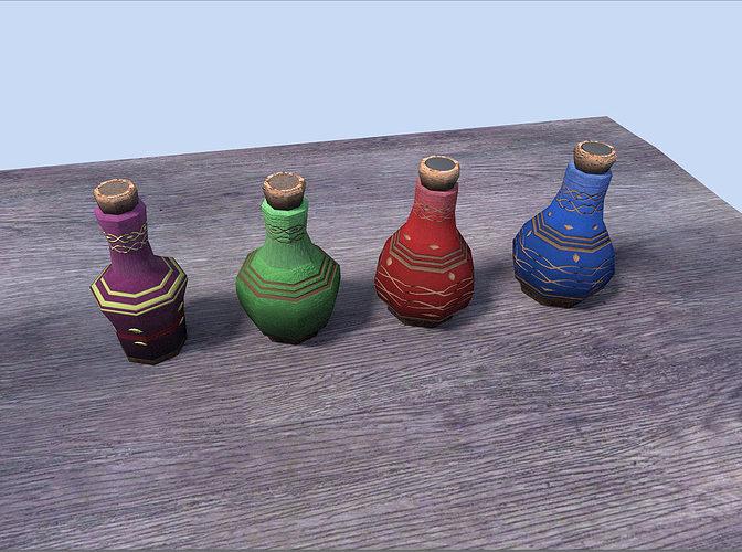 potions pack 3d model low-poly obj 3ds fbx blend dae x 1
