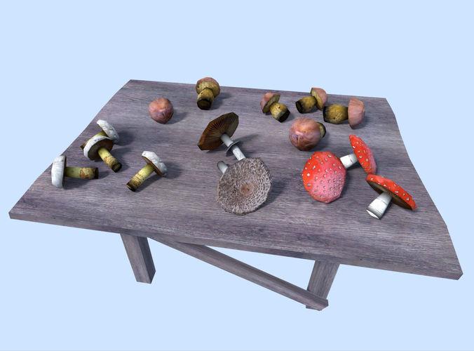 low poly mushrooms pack3D model