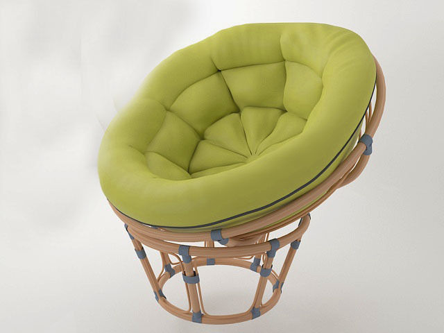round wicker chair papasan 3d model obj