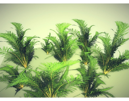 low poly tropical shrub 3d asset VR / AR ready