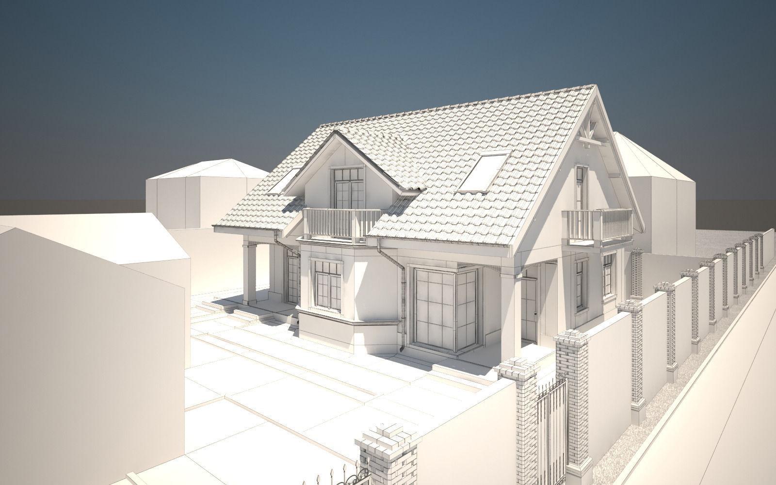 House exterior 3d model max obj tga House 3d model
