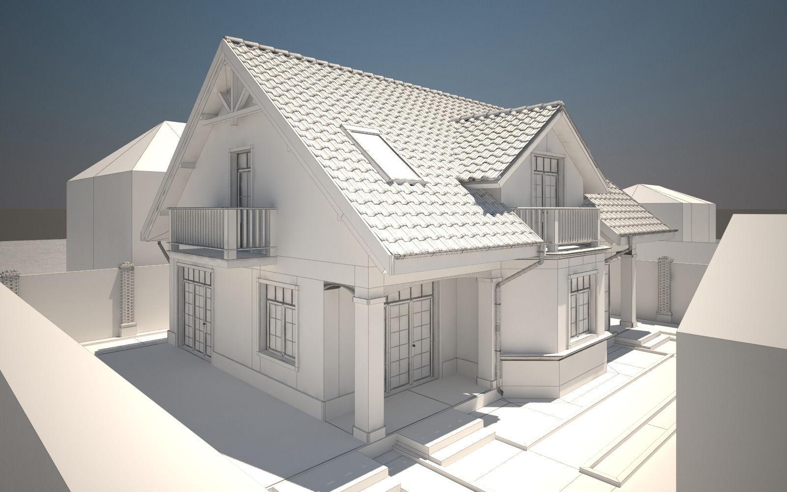 House Exterior 3d Model Max Obj 3ds Dwg Mtl Tga 4