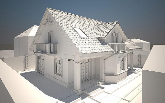 Exterior: House Exterior 3D Model MAX OBJ 3DS DWG MTL TGA