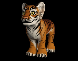 Hand Painted Tiger 3D Model