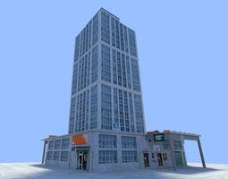 bricks 3D model city skyscraper