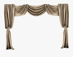 3D brown silk curtain
