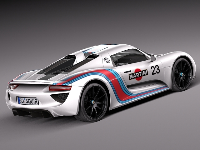 porsche 918 spyder martini 2013 3d model max obj 3ds. Black Bedroom Furniture Sets. Home Design Ideas