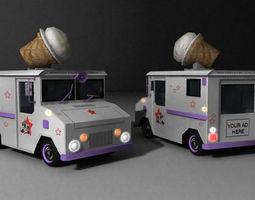 3d model animated realtime icecream truck