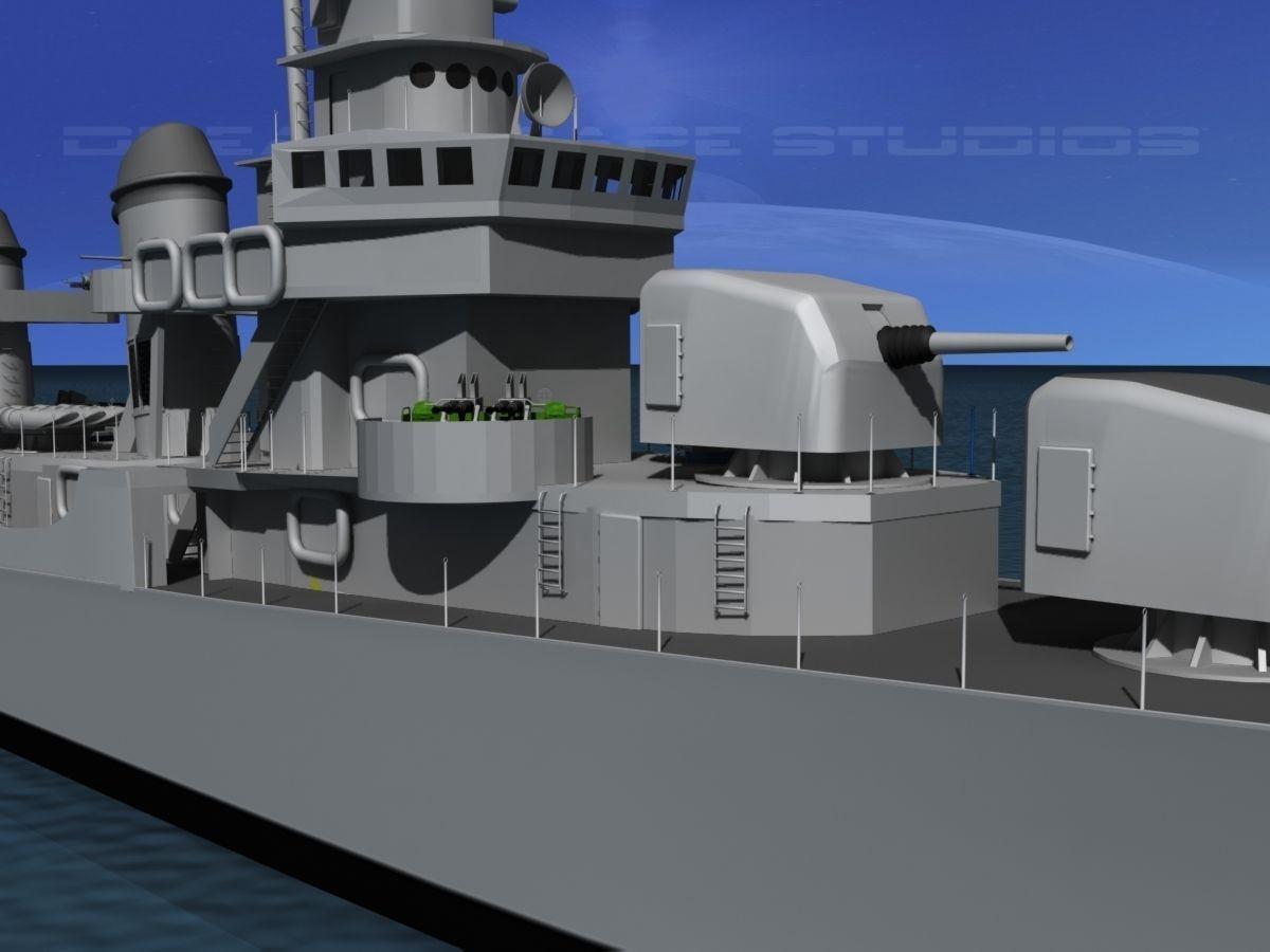 Fletcher Class Destroyer Dd 537 Uss Sullivans 3d Model