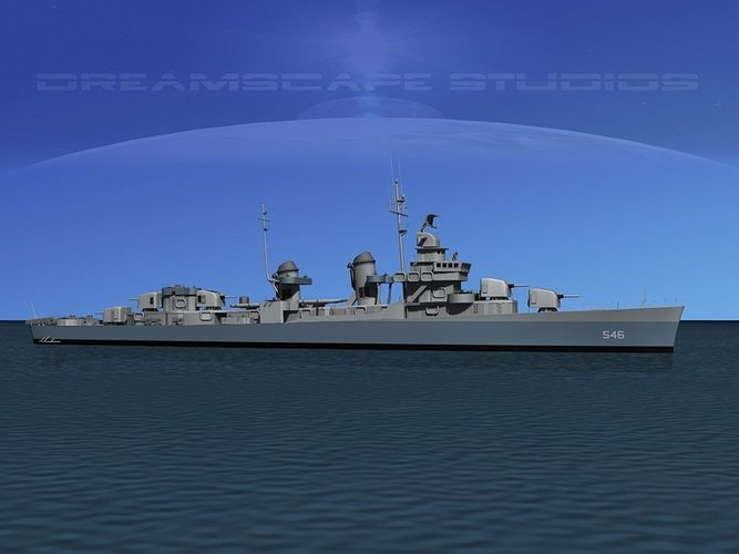fletcher class destroyer dd-546 uss brown 3d model max obj mtl 3ds lwo lw lws dxf stl 1