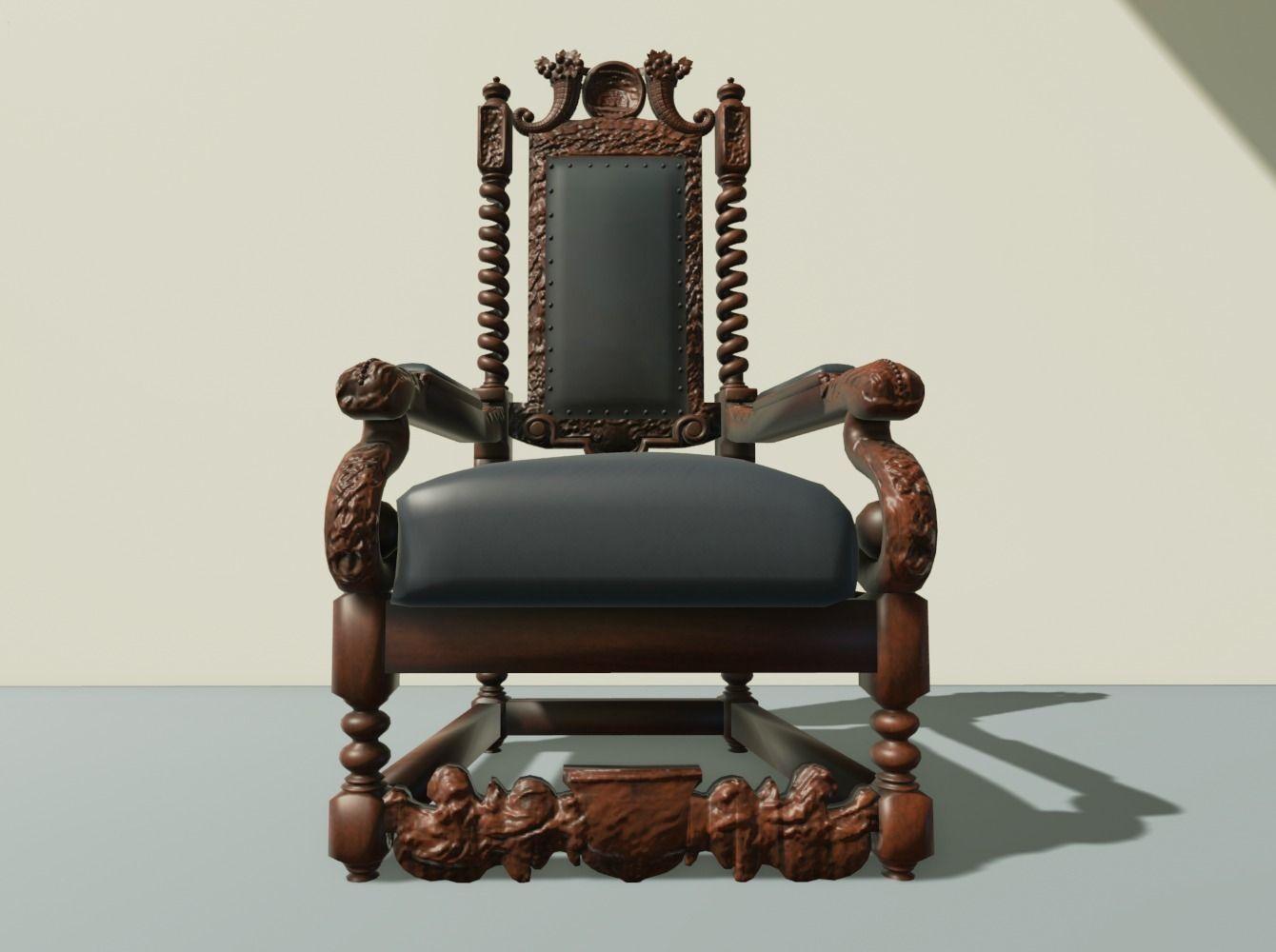 antique throne chair 3d model obj mtl 2 ... - 3D - Antique Throne Chair Antique Furniture