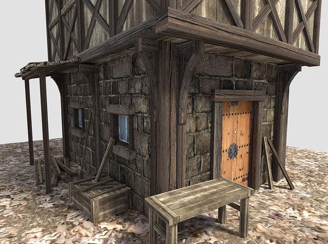 Medieval City House 3d Model Obj 3ds Fbx Blend Dae X3d 1