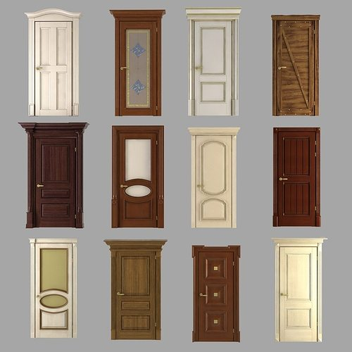 classic doors collection 3d model max obj 3ds fbx mtl 1