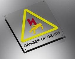 warning electricity danger sign  3D Model