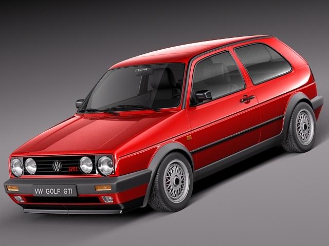 volkswagen golf gti mk2 1983-1992 3d model max obj mtl 3ds fbx c4d lwo lw lws 1