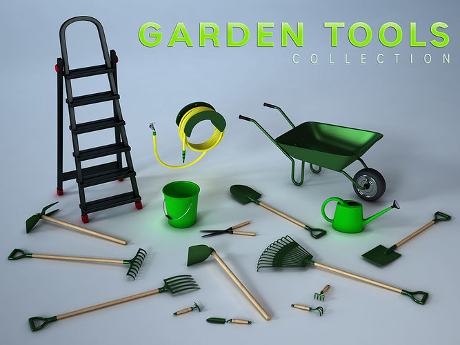 Garden tools collection 3d model cgtrader for Gardening tools 3d model