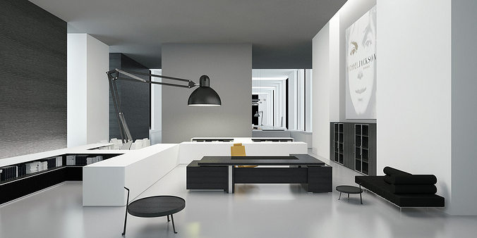 modern office interior commercial 3d model cgtrader. Black Bedroom Furniture Sets. Home Design Ideas