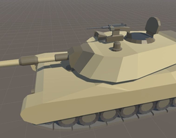 3d asset m1 abrams cartoon style low-poly