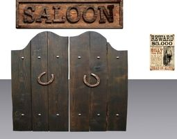 door 28 with saloon sign and wanted poster realtime 3d model