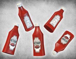 3d model ketchup bottle realtime