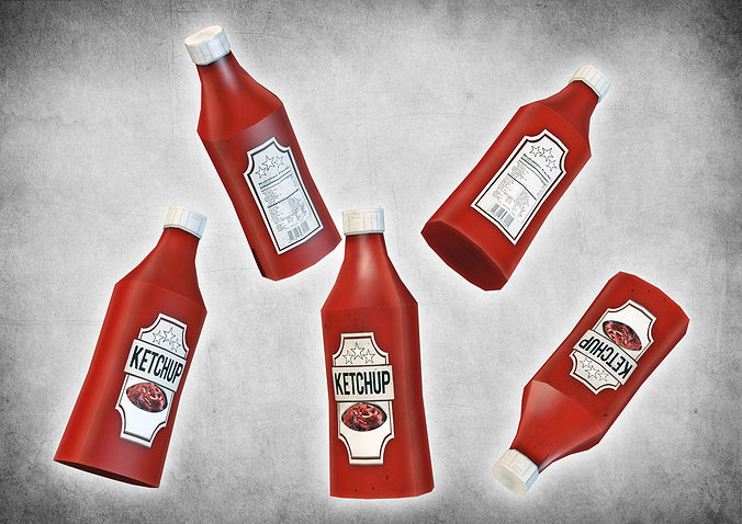 ketchup bottle 3d model low-poly max obj 3ds dxf dae dwg 1