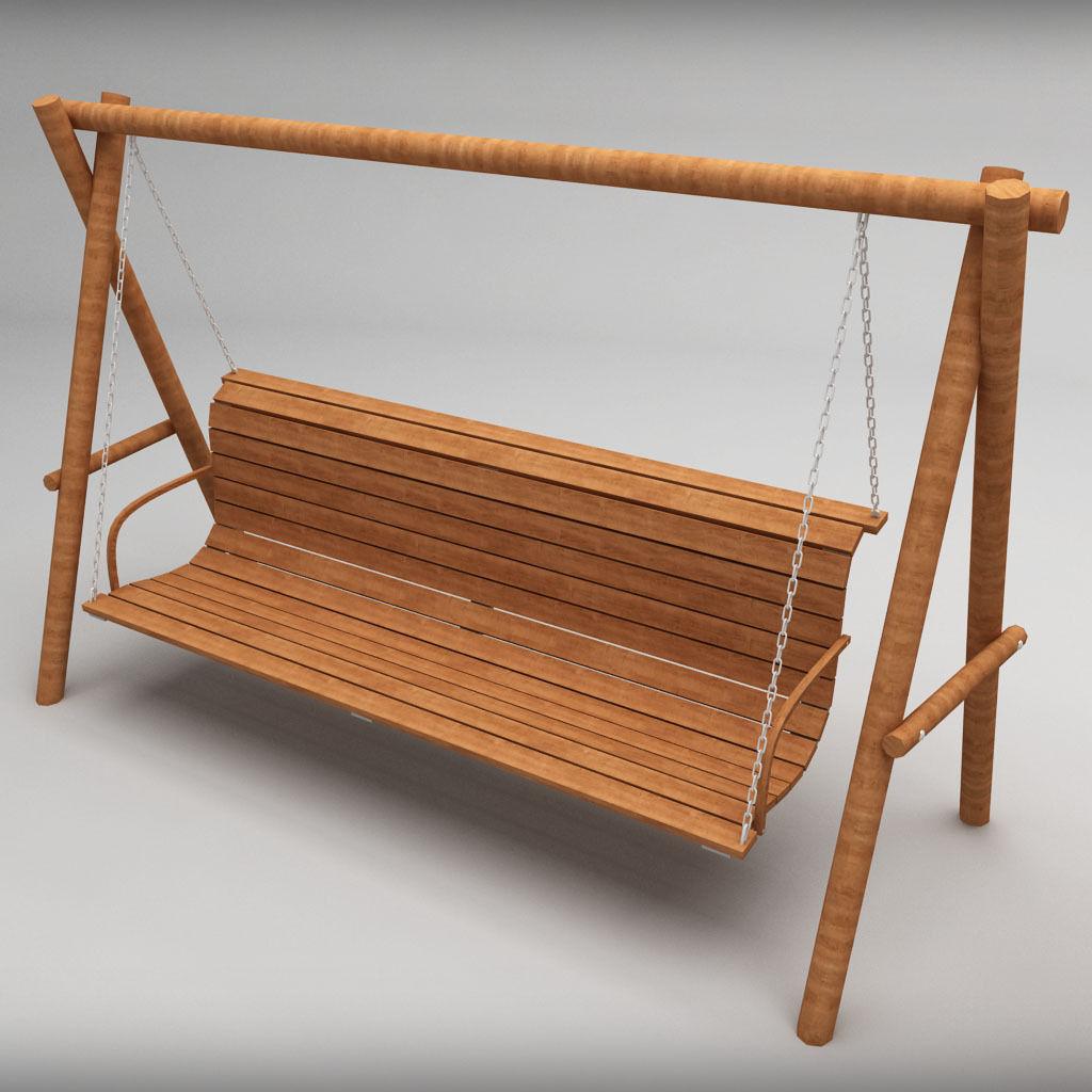 Garden wooden swings pack 3D | CGTrader