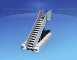 airport stairs 1 rigged 3d