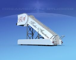 airport stairs butler aviation 3d model rigged