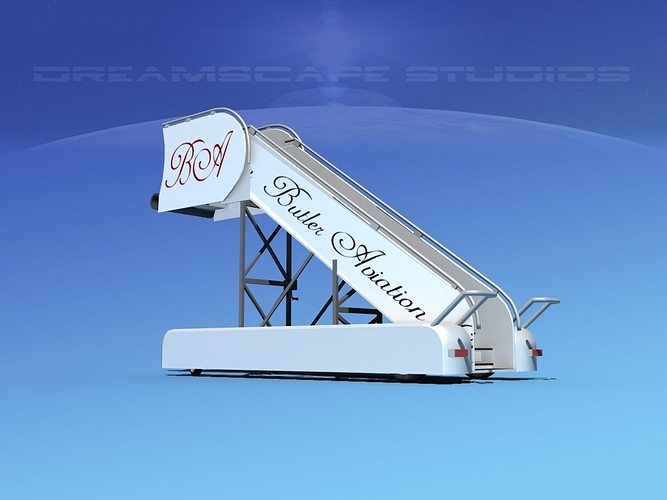 airport stairs butler aviation 3d model max obj 3ds lwo lw lws dxf stl 1