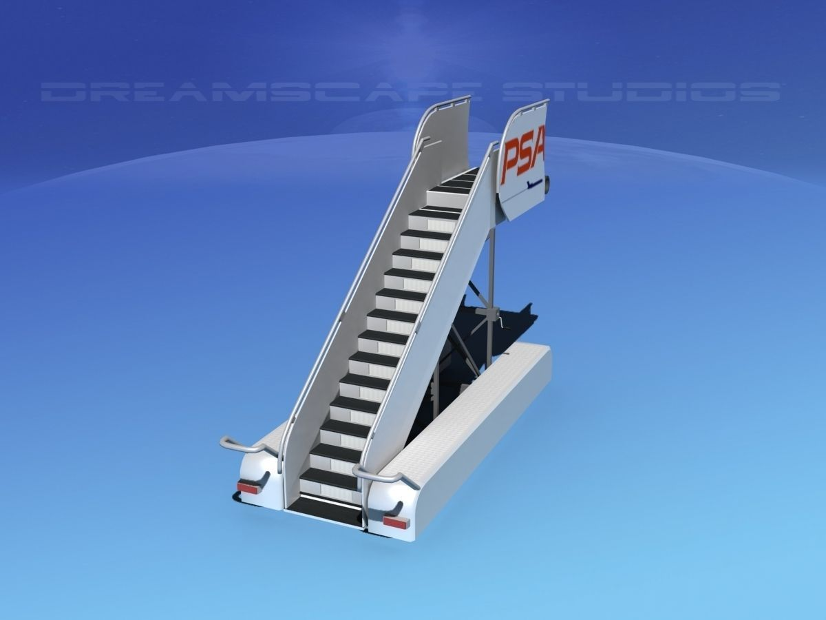 Airport Stairs Psa 3d Model Rigged Max Obj 3ds Lwo Lw Lws