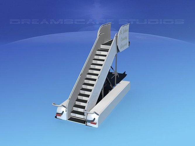 airport stairs 2 3d model rigged max obj 3ds lwo lw lws dxf stl 1