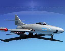 Grumman F9F-5 Panther Argentina Armada 3D Model