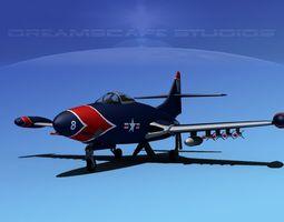Grumman F9F-5 Panther USMC V01 3D Model
