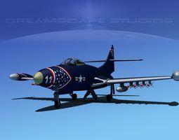 Grumman F9F-5 Panther USMC V02 3D Model