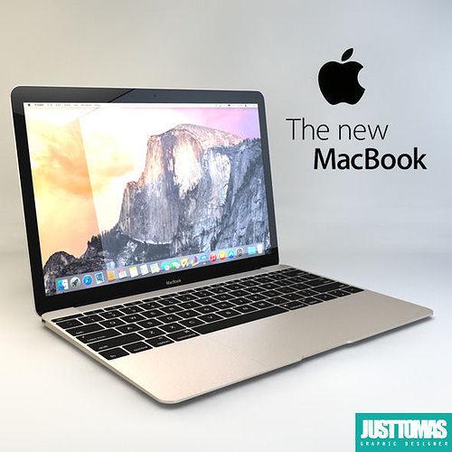 apple macbook 2015 3d model obj mtl 3ds c4d 1