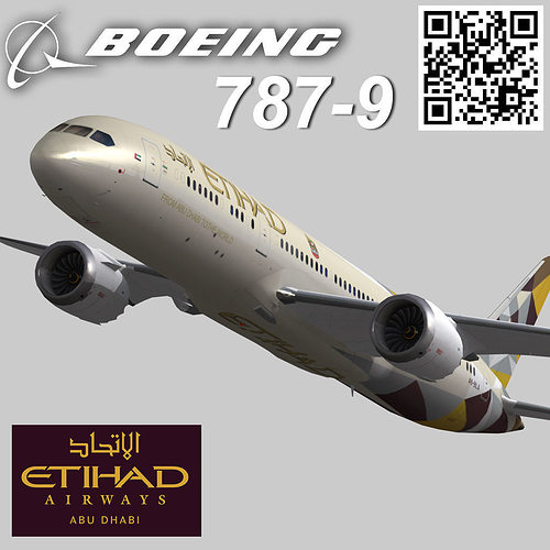 boeing 787-9 etihad airways livery 3d model low-poly animated max 3ds fbx 1
