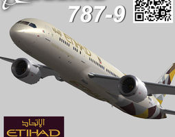 Boeing 787-9 Etihad airways livery 3D Model