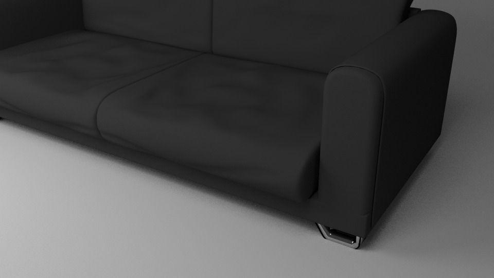 Black Fabric Couch Sofa Model Obj Fbx Blend Dae Mtl 2