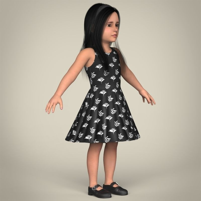 Realistic Little Girl 3D Model MAX OBJ 3DS FBX C4D LWO LW
